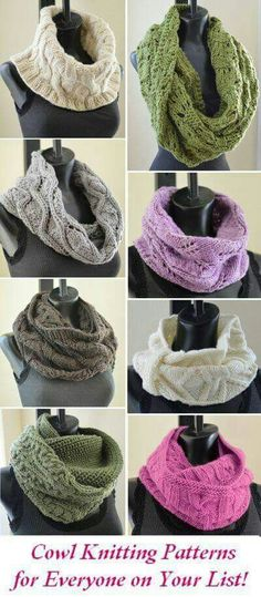 Cowl Knitting Patterns for Everyone on Your List (including you! Cowls are such ideal gift knits and projects during the busy fall and winter months! They're quick knits. Loom Knitting, Knitting Patterns Free, Knit Patterns, Free Knitting, Stitch Patterns, Finger Knitting, Knitting Tutorials, Knit Or Crochet, Crochet Scarves
