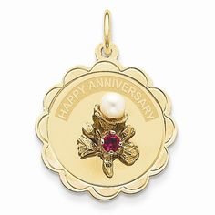 14k Yellow Gold Anniversary Flower Pearl Charm