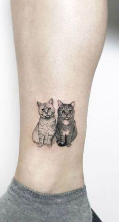 Double Tuxedo Cat & White Kitty Ankle Leg Tattoo Ideas for Women - tatuaje de to. - Double Tuxedo Cat & White Kitty Ankle Leg Tattoo Ideas for Women – tatuaje de tobillo pequeño ga - Kunst Tattoos, Bild Tattoos, Body Art Tattoos, Sleeve Tattoos, Ankle Tattoos, Tattoos On Ribs, Buddha Tattoos, Piercing Tattoo, Detailliertes Tattoo