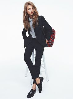 Anna Selezneva for Mango Fall 2013 Catalogue | FashionMention. Tags: barefoot, blazer, elegance, footwear, girl, ivy league, jacket, loafers, no socks, pants, preppy, suit, shoe, shirt, sockless, suit, without socks
