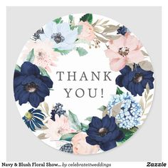 Navy & Blush Floral Baby Shower Thank You Favor Classic Round Sticker Thank You Wallpaper, Pink Wreath, Baby Shower Thank You, Thank You Stickers, Floral Baby Shower, Bridal Shower Favors, Different Shapes, Round Stickers, Floral Flowers