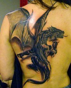 Realistic 3D dragon tattoo