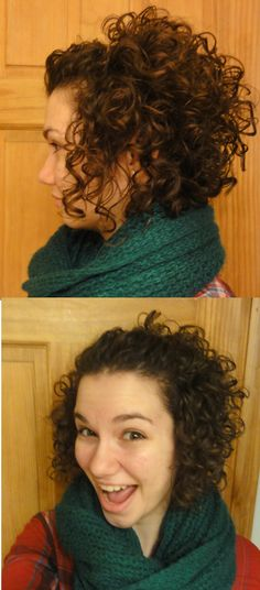 """Cute Hairdo for Short, Curly Hair: pin back the top part of your hair, leaving the sides down; tease the """"puff"""" left in the back if extra volume is desired :)"""