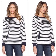 ✨ Host Pick✨ Kate Spade Stripe Pocket Top Super comfy yet stylish striped top with pockets | 100% Cotton | Silver button accents | Color is Rich Navy and White | NWT kate spade Sweaters Crew & Scoop Necks