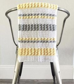 Crochet Patterns Afghans Crochet Gray and Yellow Bobble and Mesh Stitch Blanket Pattern - Crochet Afghans, Motifs Afghans, Crochet Bobble, Crochet Baby Blanket Beginner, Bobble Stitch, Afghan Crochet Patterns, Free Crochet, Crochet Blankets, Baby Blankets
