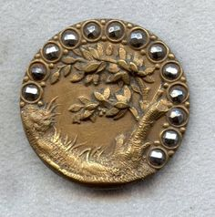 Antique Button - 1800's Unique Metal Button w/Raised Plant Leaf Design