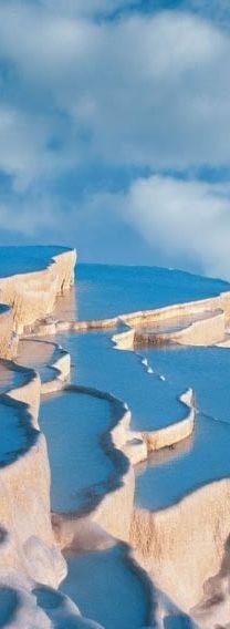 Rock formations, Pamukkale, Turkey.
