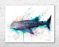 Walhai 2 Aquarell Druck von Slaveika Aladjova, Kunst, Tier, Illustration, Kunst Meer, Meer Lebenskunst, Wohnkultur, Wandkunst
