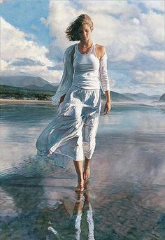 What a vision of loveliness. Oh how I wish I could paint like this. Steve Hanks 'Moving On'