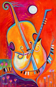 Large Abstract Painting, Original Oil canvas, large artwork, Music of Life Marlina Vera, Modern Art Musical instruments cello sax piano jazz Music Painting, Oil Painting Abstract, Art Music, 7th Grade Art, Wine Art, Arte Pop, Canvas Wall Art, Canvas Frame, Art Lessons