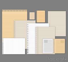 10 blank loose-leaf paper vector