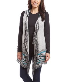 This Leo & Nicole Feather Gray Geometric Hooded Fringe Open Vest by Leo & Nicole is perfect! #zulilyfinds
