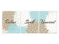 Relax Soak Unwind, Bathroom Wall Art, Blue Beige and Brown Bathroom Decor, Floral Bathroom Art, Set of 3 Bath Art Prints - BATH80