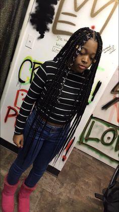 Level 3 Hair And Beauty Big Box Braids Hairstyles, Little Girl Hairstyles, African Hairstyles, Weave Hairstyles, Simple Hairstyles, Protective Style Braids, Protective Hairstyles, Protective Styles, Curly Hair Styles