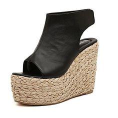 37.99  Women s Spring Summer Fall Platform Leather Office   Career Dress  Party   Evening Wedge Heel Platform Black Beige. Wedge ShoesWedge ... 2f40ed30a550e