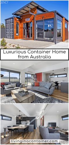 We have the absolute pleasure in presenting you with this unique, modern & industrial themed container home available for sale in the beautiful township of Port Sorell, currently run as Airbnb options with fantastic occupancy rates. Container Homes For Sale, Shipping Container Home Designs, Building A Container Home, Shipping Container House Plans, Container Buildings, Container Architecture, Container House Design, Steel Frame House, Steel House