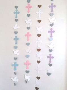 Christening Cross and Dove Garland - Baptism Backdrop decorations - First Communion Garland - Baby Dedication Decor - Your Color choice Baptism Decorations, Baptism Centerpieces, Backdrop Decorations, Heart Decorations, Backdrops, Communion Decorations, Christmas Decorations, Baby Girl Baptism, Baptism Party