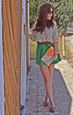 Green skirt ♥ Orange flower  (by Crris LoveShoppingandFashion) http://lookbook.nu/look/2080991-Green-skirt-Orange-flower