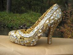 Gold and Silver Mosaic Shoe SculptureRESERVED by tallymosaics, $125.00