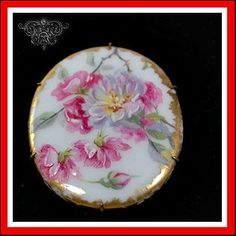 ANTIQUE FRENCH LIMOGES FLOWERS MINIATURE PLAQUE PORCELAIN BRASS BROOCH PIN | eBay