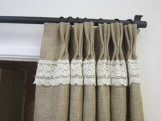 Crochet LacePinch pleat panels /Rustic decor/Pinch Pleat Burlap drapes/Burlap curtains/Burlap tie backs/Back to school/Decor and Housewares by pillowpuff on Etsy