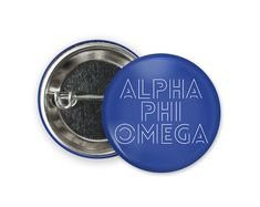 Standard size round pin back style button. Engraved Tumblers, Alpha Phi Omega, Bid Day, Different Colors, Size 2, Buttons, Style, Knots, Plugs
