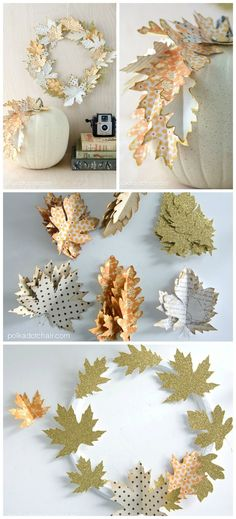 Idea to use paper leaves to create a simple DIY Fall wreath or as a elegant way to decorate a pumpkin for fall.