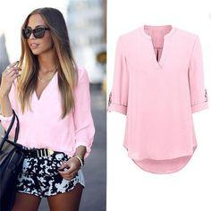Women's Ladies Summer Loose Tops Three Quarter Sleeve Shirt Casual Blouse V-Neck Chiffon Blouses Long Sleeve Tops, Long Sleeve Shirts, Shirt Blouses, Chiffon Blouses, Casual Tops, Shirt Outfit, Blouses For Women, Ideias Fashion, Loose Tops