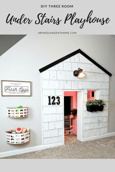 A fun addition to our basement has been this playhouse under the stairs. It is 3 full rooms, and complete with electricity. The update with cedar shake shingles is up on the blog, so be sure to check it out! http://www.arinsolangeathome.com #playhouse #diy #homedecor #playroom #cedarshakeplayhouse #indoorplayhouse #chalkwall #diychalkwall #framedchalkwall