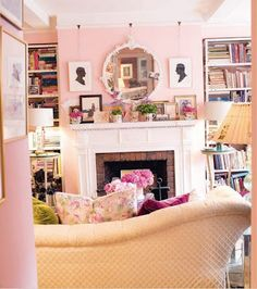 Looks so cozy! (well yes, and pink)  I want to do this! Wall color Fireplace and sofa color. Cheerio me!