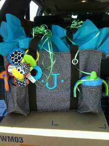 Great baby shower gift!  Use the Thirty-One Organizing Utility Tote to make a diaper bag and fill it with goodies.  You could add a burp cloth, wipes, diapers, toys, sippy cup, etc. www.mythirtyone.com/jennifermillerky
