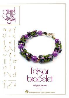 beading pattern  Pendant tutorial / pattern Edgar bracelet..PDF instruction for personal use only