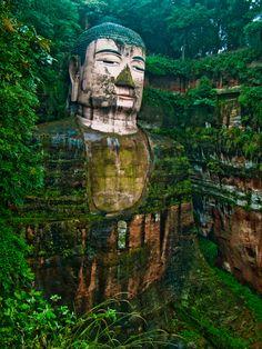 The Leshan Buddha in Sichuan Province, outside of Chengdu, China.
