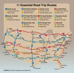 Must-do road trips in the US. Includes suggested routes and sites.