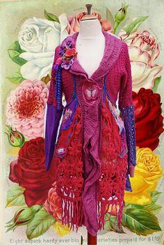 Romantic pink purple sweater coat cardigan made of by lodicha, €249.00