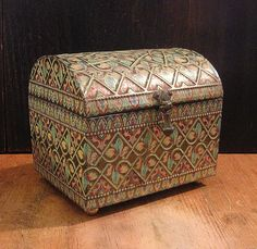 Beautiful Vintage Tin English Treasure Chest Box with Embossed Details