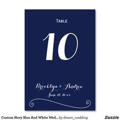 Custom Navy Blue And White Wedding Table Numbers