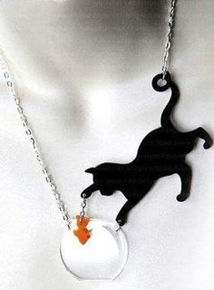 Cat with Fish Necklace - Perspex Cat Necklace - Cat & fish - Catchin' Fish by Sugar Jones - Meow Cat Jewelry, Jewelery, Jewelry Accessories, Jewelry Ideas, Cat Necklace, Pendant Necklace, Nameplate Necklace, Tree Necklace, Amber Necklace