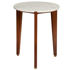 Walnut Tripod Side Table with Calcutta Marble Top - Contemporary Mid-Century / Modern Side Tables
