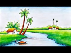 Easy Scenery Drawing for Kids-Village Scenery Drawing-Step by Step Scenery Drawing Pencil, Scenery Drawing For Kids, Pencil Drawings Of Flowers, Crayon Drawings, Painting For Kids, Best Drawing For Kids, Easy Drawings For Kids, Art Illustrations, Illustration Art