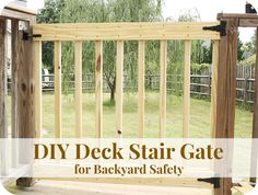 Deck Plans 357543657912554406 - How to Build Your Own Deck Stair Gate {Backyard Safety} Porch Gate, Deck Gate, Stair Gate, Deck Stairs, Front Porch, Deck Building Plans, Deck Plans, Pergola Designs, Deck Design