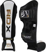 RDX Leather Pro Gel Shin Instep Pads MMA Leg Foot Guards Muay Thai Kick Boxing