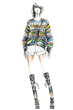 Spring 2014 Designer Inspirations: New York Collections  Loving this Illustration from Rebecca Minkoff. We would like that jacket please! Not to mention those lace up SHOES!