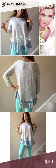 Patchwork Ruffle Hem Pastel Top Comfy lightweight knit top. Fresh spring colors of alabaster and pastels patchwork print. 3/4 length sleeves. Add this beauty to your wardrobe. Size S, M, L gingham Tops