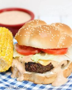 Delicious Ranch Burger with Special Sauce recipe. The perfect hamburger for your next BBQ. Sauce ingredients include mayo, ketchup, relish, and worcestershire sauce.