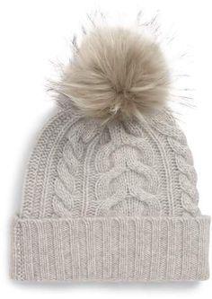 Halogen Cashmere Cable Knit Beanie with Faux Fur Pom 5e5b5814250