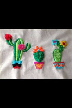 Cactus Embroidery, Mexican Embroidery, Flower Embroidery Designs, Hand Embroidery Stitches, Beaded Embroidery, Cross Stitch Embroidery, Cactus Craft, Crochet Designs, Sewing