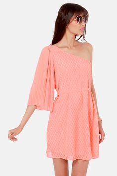 Take It Or Sleeve It One Shoulder Peach Dress at LuLus.com!