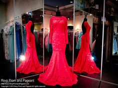 Red/Nude Lace Sleeved Mermaid Prom Dress