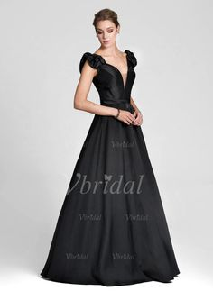 Evening Dresses - $149.99 - Ball-Gown Off-the-Shoulder Floor-Length Satin Evening Dress With Ruffle (01705021232)